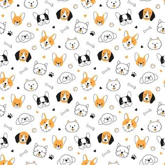 異なる品種の犬の頭とのシームレスなパターン。コーギー、ビーグル、チワワ、テリア、ポメラニアン。犬の顔のテクスチャ。白い背景の上の落書きスタイルの手描きのベクトル図