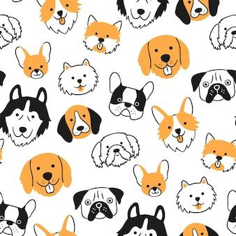 Бесшовный фон с головами собак разных пород. корги, мопс, чихуахуа, терьер, хаски, померанский шпиц.