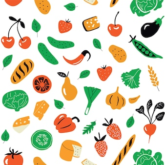 Seamless pattern with healthy food, organic products.