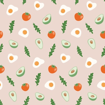 Seamless pattern with healthy food.
