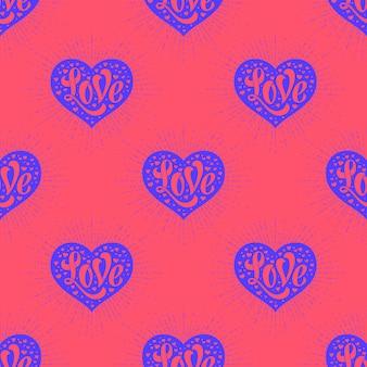 心とレタリング愛のシームレスパターン