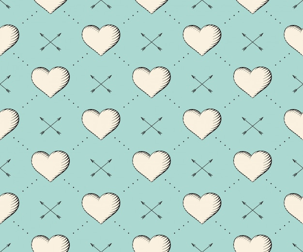Seamless pattern with heart and arrows in vintage style engraving on a turquoise background. hand drawn.