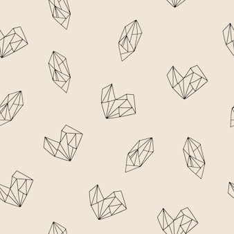 Seamless pattern with heart and diamond shapes. vector illustration.
