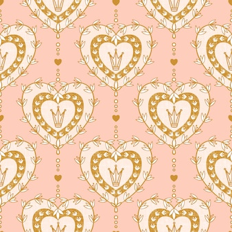 Seamless pattern with heart and hand drawn elements pastel color
