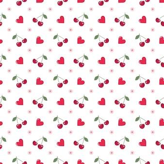 バレンタインデーbのための白い背景の上のハートとチェリーのお祝いの装飾とのシームレスなパターン...