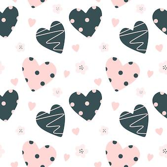心と花とのシームレスなパターンスカンジナビアスタイルのベクトルでかわいい赤ちゃんのパターン