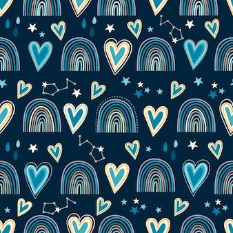 하트와 무지개와 함께 완벽 한 패턴