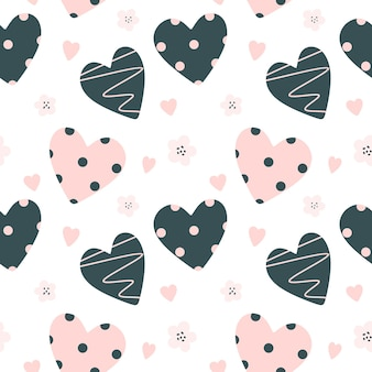 Seamless pattern with hearts and flowers cute baby pattern in scandinavian style vector