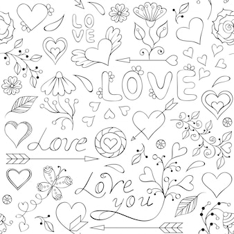 Seamless pattern with hearts, flowers and other elements