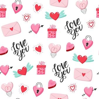 Бесшовный фон с сердечками на день святого валентина