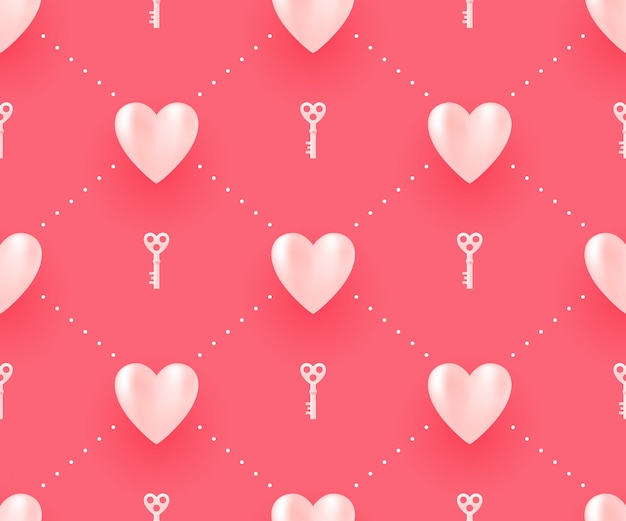Seamless pattern with hearts and keys