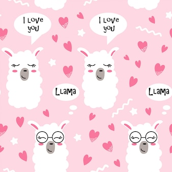 Seamless pattern with hearts and lama faces