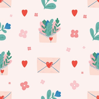 Seamless   pattern with hearts and letter.   valentine's day.