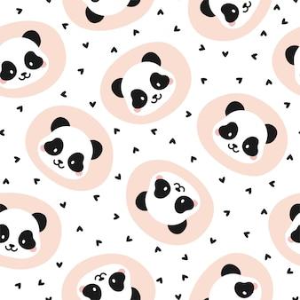 Seamless pattern with hearts and panda bears
