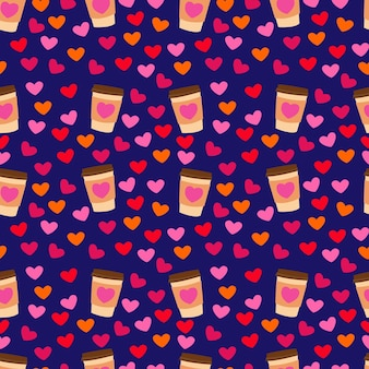Seamless pattern with hearts and paper cup stock vector illustration for printing on packaging