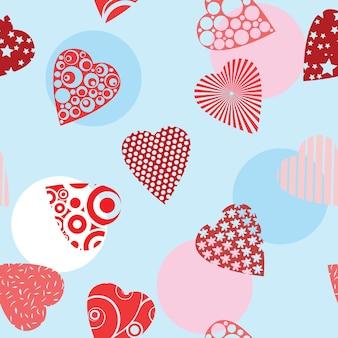 Бесшовный фон с сердечками - векторные иллюстрации для дизайна