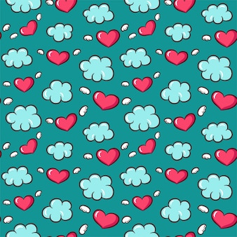 Seamless pattern with hearts and wings