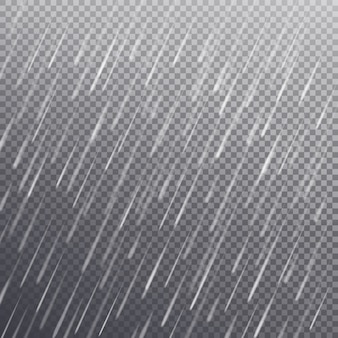 Seamless pattern with heavy rain drops isolated on transparent background