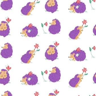 Бесшовный фон с ежиками и цветами. иллюстрация в мультяшном стиле с милыми персонажами на белом фоне. вектор