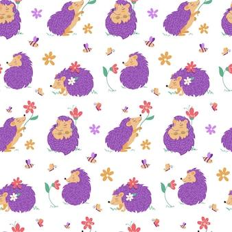 Бесшовный фон с ежиками и цветами. иллюстрация в мультяшном стиле с милыми персонажами. вектор
