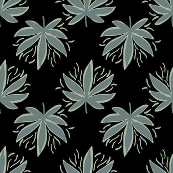 Seamless pattern with hemp leaves in dark tones.