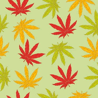 Seamless pattern with hemp leaves.