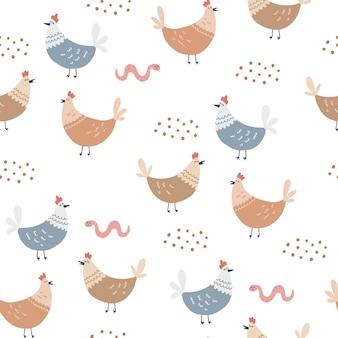 鶏とワームとのシームレスなパターン。子供のテキスタイルデザインの手描きベクトルイラスト。