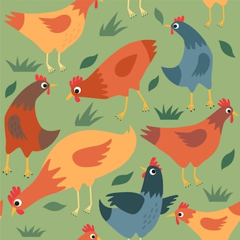 Seamless pattern with hens and chickens.