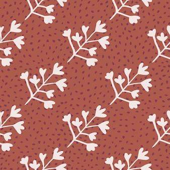 パステル調の明るいトーンでハーブのシルエットとのシームレスなパターン。ドットとサンゴの背景。壁紙、包装紙、テキスタイルプリント、ファブリックの装飾的な背景。図。