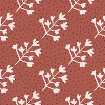 Seamless pattern with herbal silhouettes in pastel light tone. coral backdrop with dots. decorative backdrop for wallpaper, wrapping paper, textile print, fabric.  illustration.