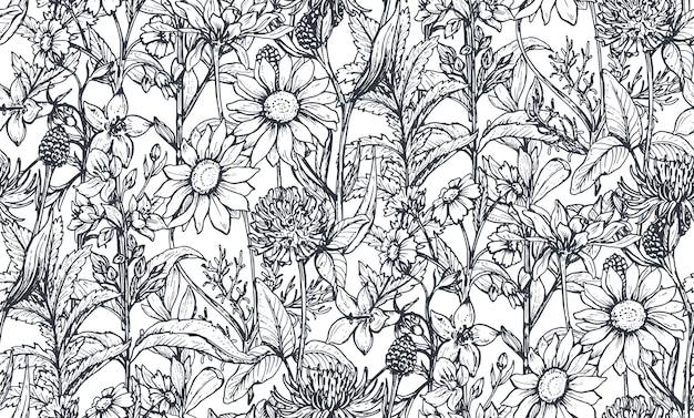 ハーブと花とのシームレスなパターン