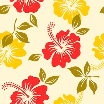 Seamless pattern with hibiscus flower hawaii