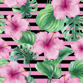 Seamless pattern with hibiscus pink and leaf