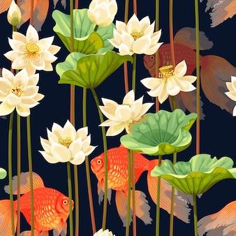 검은 배경에 높은 상세한 흰색 연꽃과 베일테일 금붕어와 원활한 패턴