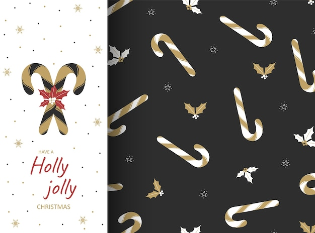 Seamless pattern with holiday lollipops and oak leaves. christmas postcard, wallpaper and wrapping paper. sweet traditional gift illustration. decoration design elements.