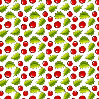 Seamless pattern with holly  christmas background