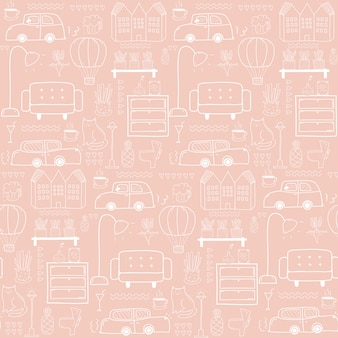 Seamless pattern with home furniture