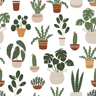 Seamless pattern with home plants hand drawn vector illustration in boho style