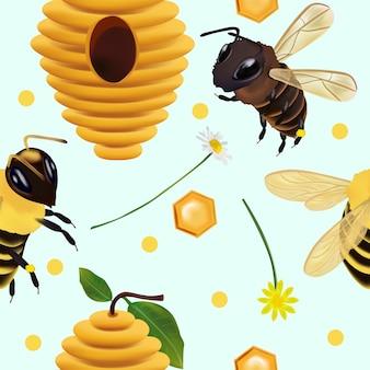 ミツバチの蜂の巣と花とのシームレスなパターン