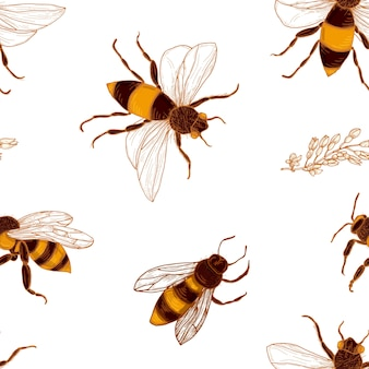 Seamless pattern with honey bees and acacia plant branches