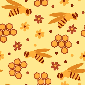 Seamless pattern with honey bees in a honeycomb - funny cute patern in cartoon style on yellow