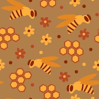Seamless pattern with honey bees in a honeycomb - funny cute patern in cartoon style