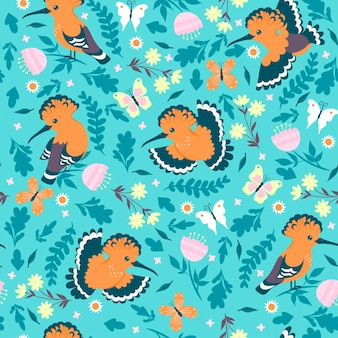 Seamless pattern with hoopoe birds and flowers.