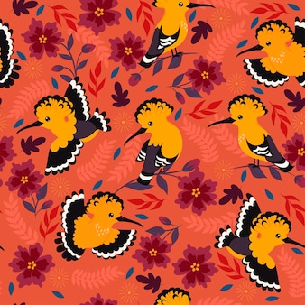 Seamless pattern with hoopoe birds and flowers