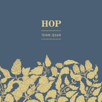 Seamless pattern with hops and leaves.