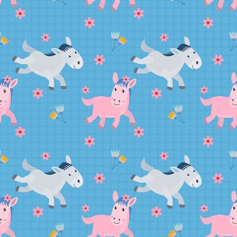 Seamless pattern with horse running in flowers garden on blue background.