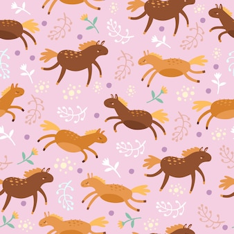 Seamless pattern with horses on purple