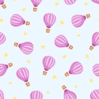 熱気球と星のシームレス パターン