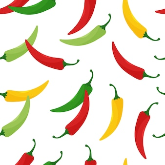 Seamless pattern with hot chili peppers, jalapeno vegetables, background with cayenne pepper red, green, yellow colors.