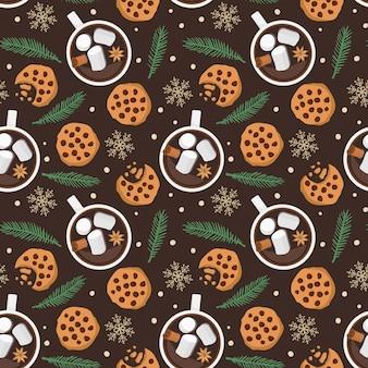 Бесшовный фон с горячим шоколадом, печенье, еловая ветка, снежинки на темно-коричневом